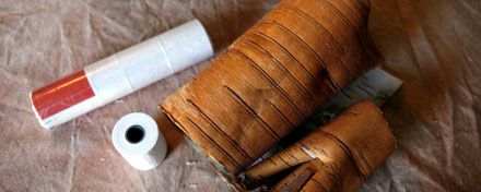 birchbark and roll of paper