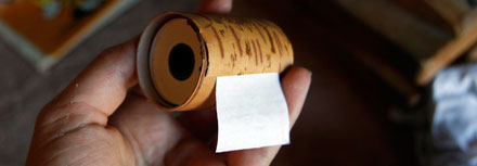 Roll of paper for small notes in bichbark